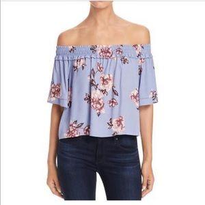 ASTR off the shoulders lavender floral top